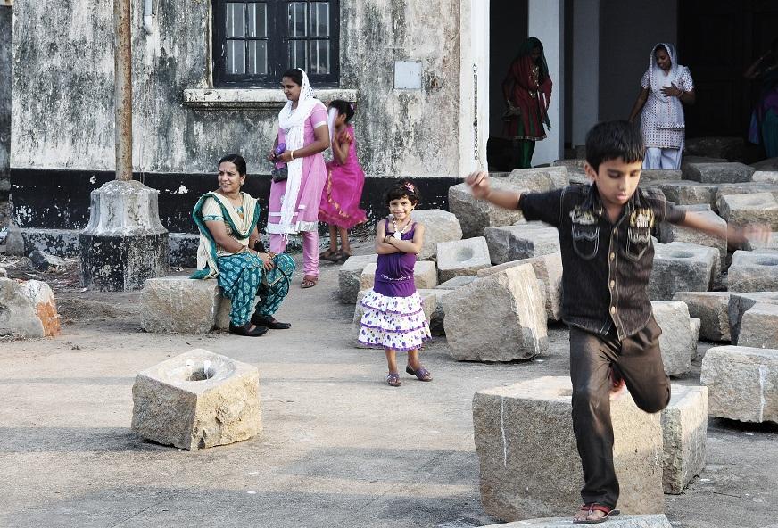 Sheela Gowda. Grinding Stones
